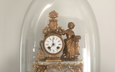 A late 19th century French gilt metal and white alabaster mantel clock. Enclosed wooden base with glass dome. H. incl. dome 53 cm. W. 40 cm.
