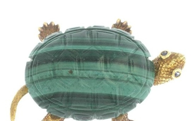 A mid 20th century gold malachite tortoise brooch, with