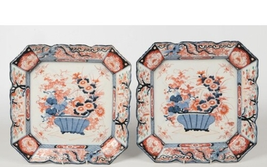 A pair of Japanese Meiji period Imari canted square chargers...