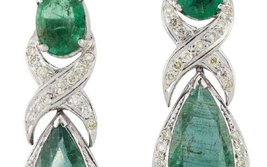 A pair of emerald and diamond pendant...