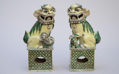 A pair of foo lions in Chinese Sancai porcelain (*) (11x15x32cm)