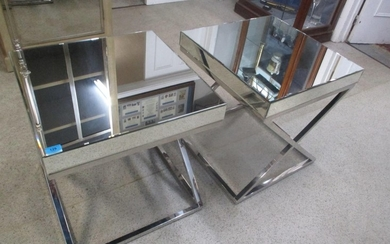 A pair of modern as new mirrored lamp tables with chrome cro...