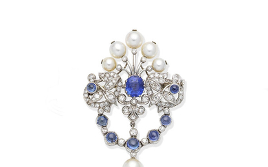 A sapphire, cultured pearl and diamond brooch/pendant