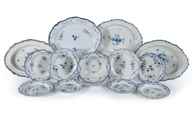 A selection of Staffordshire blue and white pearlware dinner wares with feuilles de choux rims