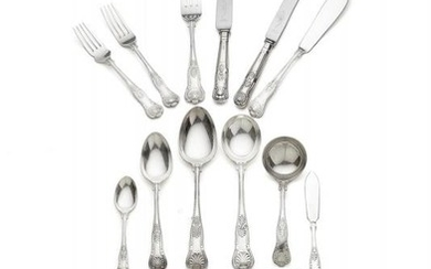 A silver King's pattern table service for twelve