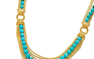 A turquoise bead festoon necklace