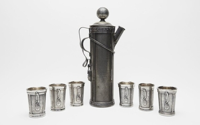 AN AMERICAN SILVER-PLATED GOLF-THEMED COCKTAIL SET