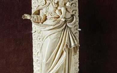 AN INDO-PORTUGUESE CARVED IVORY FIGURE OF THE MADONNA
