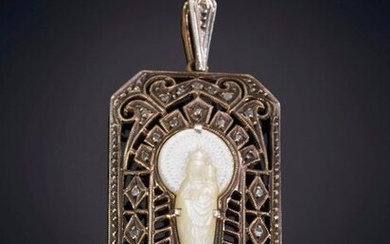 ANTIQUE MEDAL OF THE VIRGIN OF THE PILLAR IN NACAR ON A YELLOW GOLD AND SILVER FRONT MOUNT Departure: 100,00 Euros. (16.639 Ptas.)