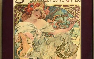 """Alphonse Mucha Poster, """"Biscuits Lefèvre-Utile"""""""