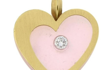 An 18ct gold pendant, with brilliant-cut diamond, inset