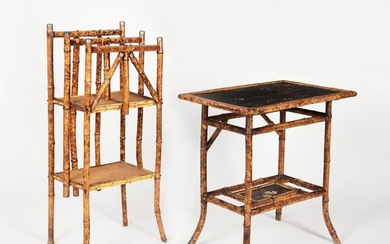 An Aesthetic bamboo table and magazine rack