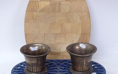An Aga wood bowl, and 2 bronze mortars on blue painted cast-...
