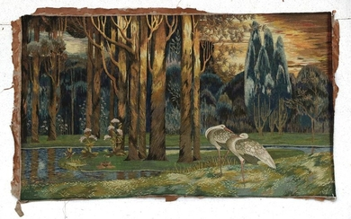 An Arts & Crafts Style Wool Work Woven Picture of...