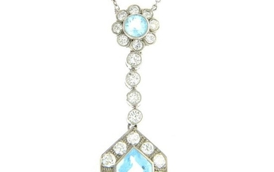 An aquamarine and diamond pendant, suspended from an