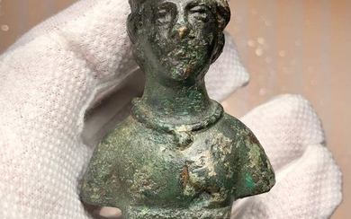 Ancient Roman BronzeChariot Fitting, Bust of the Goddess of Hunt, Moon, Wild Animals and Chastity- Diana (Artemis).