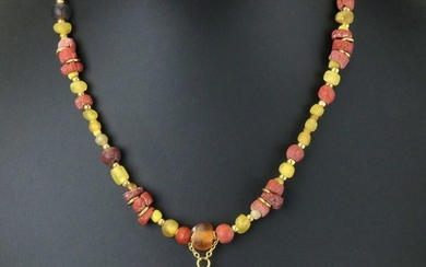 Ancient Roman Glass Necklace with yellow, red and amber colour beads