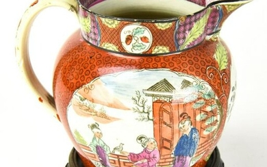 Antique Asian Hand Painted Porcelain Pitcher