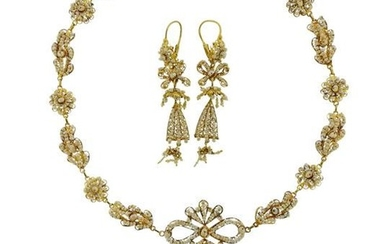 Antique Filigree 18k Gold Seed Pearl Earrings Necklace