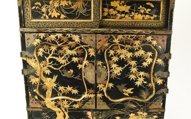Antique Japanese Black & Gold Lacquer Jewelry Box