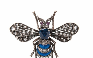 Antique Sapphire and Diamond Bee Brooch, set with a cushion-cut sapphire measuring approx. 5.80 x 5.80 mm, with enamel and rose-cut dia