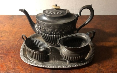 Antique heavy silver-plated tea-coffee set, - Silver plated