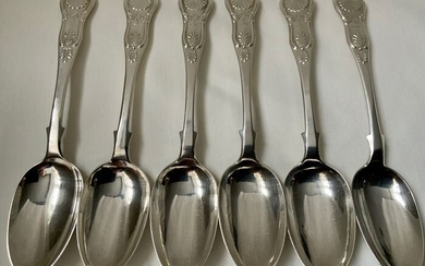 Antique scottish sterling silver desert spoons set/ part setof 6 Hours Glass Pattern / King (6) - .925 silver, Sterling silver - James & Walter Marshall, Edinburgh, (5) James McKay (1) - U.K. - 1863 (five pieces) 1871 (one pice )
