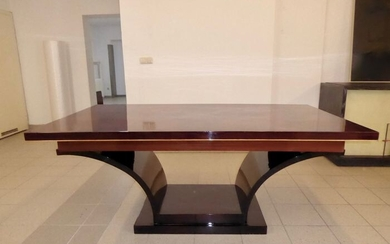 Art Deco Mahagony DINING TABLE / desk - restored - France around 1935 (1)