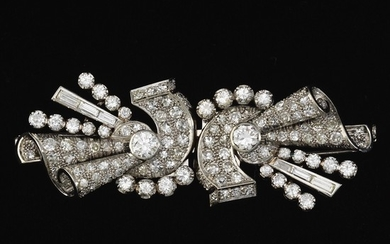 Art Deco Platinum and Diamond Duette Brooch