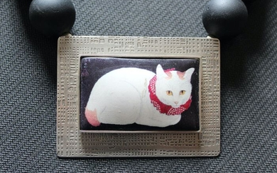 Art Heaven Jewelry - Vintage & Sterling Silver Silver - Resting Cat Pendant With Choker