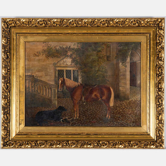 Artist Unknown, (20th Century) - Courtyard Scene with Dog and Horse