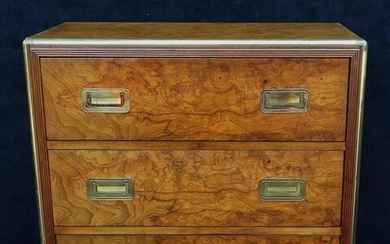 "BAKER BRASS BANDED MID CENTURY 3 DRAWER CHEST 29""H 30""W"