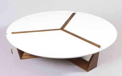 BLINA DESIGNER MODERN CIRCULAR-TOP COCKTAIL TABLE WITH PARTITIONED WHITE TOP....