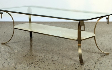 BRONZE GLASS COFFEE TABLE PARCHMENT SHELF C.1960