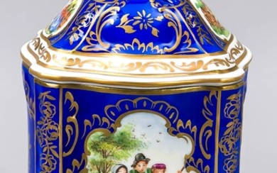Biscuit lid jar, Potschappel, Dresden, 20th century, baroque shape, two reserves with polychrome painting, genre scenes, signed, Pretzsch, blue background, gold-plated, lid knob in the form of a rose bud, h. 18 cm