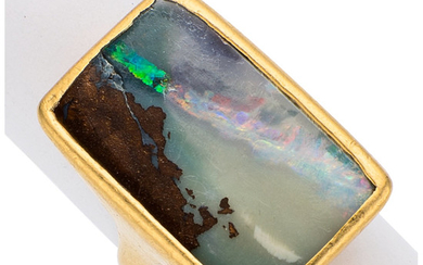 Boulder Opal, Gold Ring, Lilly Fitzgerald The ring centers...