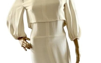 CHANEL CREAM COLORED FITTED SILK EVENING DRESS SM