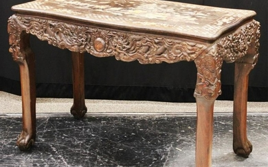 CHINESE CARVED WOOD/MOTHER OF PEARL TABLE, VINTAGE