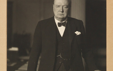 CHURCHILL, WINSTON S. Photograph Signed, ¾ length portrait by Walter Stoneman