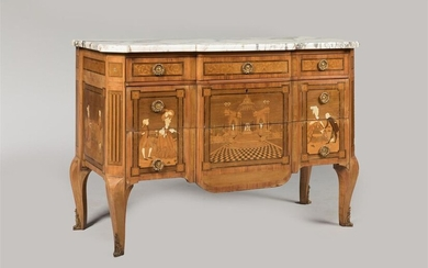 COMMODE with central projection with marquetry decoration of animated landscapes, opening with three drawers, two of which have no crossbars, jambs with cut sides, resting on arched feet, grey and white breccia marble top. Transition style Louis...