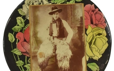 COWBOY IN WOOLY CHAPS CELLULOID PHOTO BUTTON
