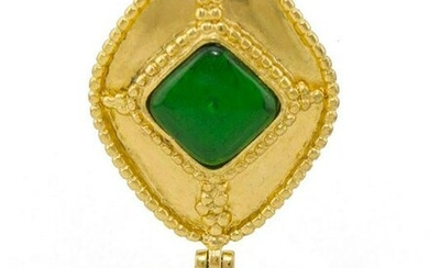 Chanel 1996 Fall Collection Chanel Pin with Green Stone