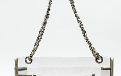 Chanel Metallic Lambskin & Clear Vinyl Handbag