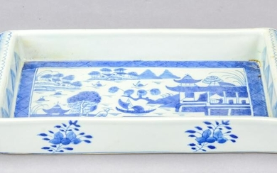 Chinese Canton Blue & White Porcelain Tray
