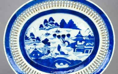Chinese Canton Reticulated Porcelain Platter