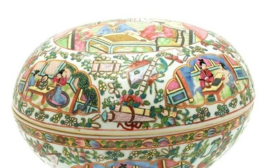 Chinese Famille Rose Canton Export Covered Box.