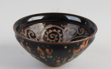 Chinese porcelain bowl with black / brown gradient glaze, inside with tendrils decoration. Sung style. Size: 6.5 x Ø 13 cm. In good condition.