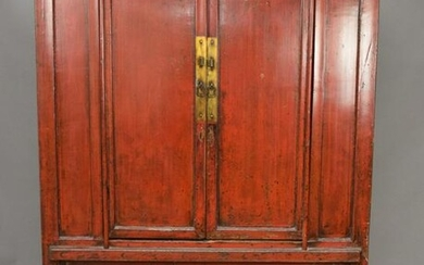 """Chinese red 2 door cabinet, 52""""W x 75""""H"""