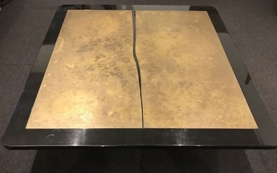 Coffee table with engraved bronze top