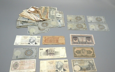 Collection of About 100 Banknotes, Israel and the Rest of the World